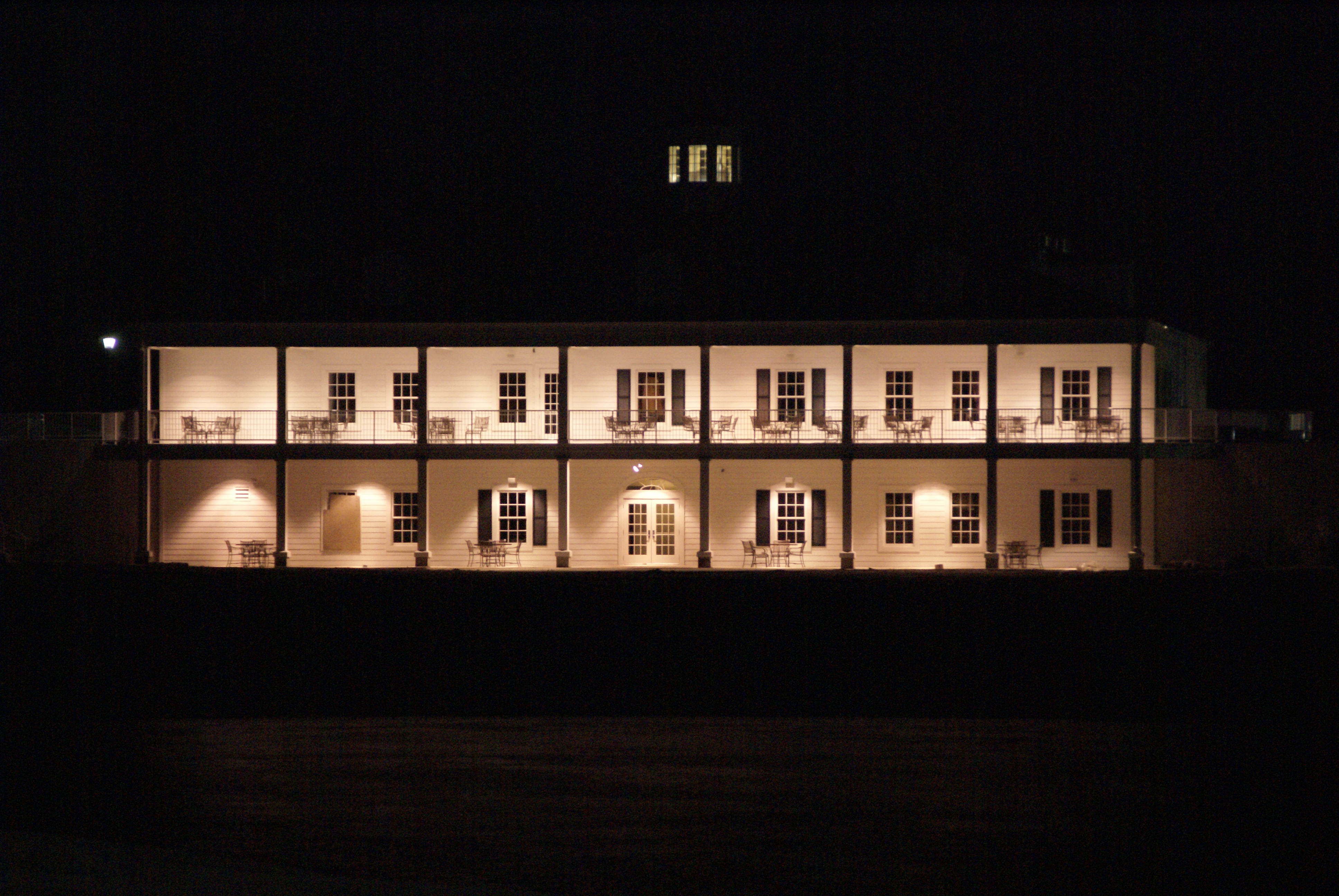 Brightly lit exterior at night